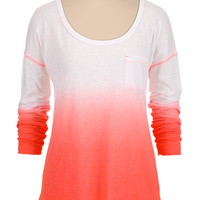 Drop Shoulder Ombre long sleeve tee