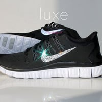 NIKE run free 5.0 running shoes w/Swarovski Crystals detail - Black