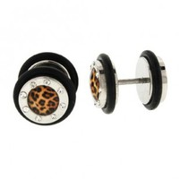 Faux Plug With Clear CZ- Leopard Logo - 16g Stud - 00g Fake Plug - Sold as a set of two