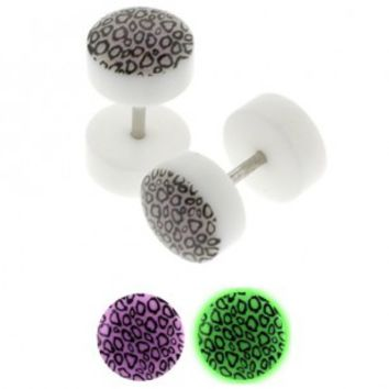 Glow in the Dark Leopard Fake Plugs - 0G Fake Part - 16G Ear Wire - Sold as a set of two