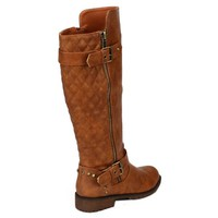 Nature Breeze Vivienne-01 Studded Quilted Leatherette Buckle Round Toe Motorcycle Boots,Vivienne-01v2.0 Tan 11