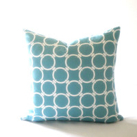 Geomertric circle links blue pillow cover, fabric both sides, all sizes available