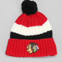 American Needle NHL Slope Stripe Blackhawks Pom Beanie - Urban Outfitters
