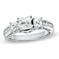 Princess-Cut Lab-Created White Sapphire Three Stone Ring in Sterling Silver - Size 7