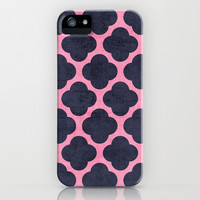 pink and navy clover iPhone & iPod Case by her art