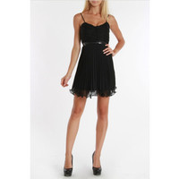 24/7 Frenzy Juniors Black Accordion Pleat Dress