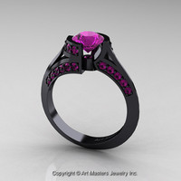 Modern French 14K Black Gold 1.0 Ct Amethyst Engagement Ring Wedding Ring R376-14KBGAM