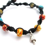 Mushroom Charm Bracelet Beaded Hemp Jewelry Shroom Bracelet Black Glass Bead