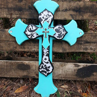 Black Damask & Bahama Blue, Triple Stack Wall Cross, Western Decor, Rustic, Western Shabby Chic, Womens, Layered, Black and White, Turquoise