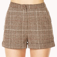 FOREVER 21 Crisp Plaid Shorts Brown/Taupe Large