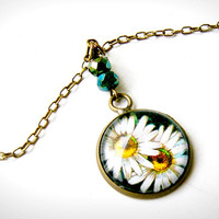 a duo of daisies brass charm necklace, vintage stamp, ephemera, floral, romantic, OOAK