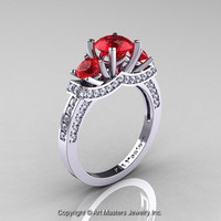 Exclusive French 14K White Gold Three Stone Rubies Diamond Engagement Ring Wedding Ring R182-14KWGDR