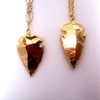 Style 2 Arrowhead Necklace Dipped In 24k Gold With Multi Link Style Chain
