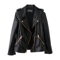 The Moto Jacket- Plain Lambskin w/ Rosegold Hardware | Luv Aj