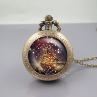 Tangled the lights Pocket Watch Locket Necklace,Tangled the lights Art,vintage pendant Pocket Watch Locket Necklace