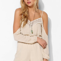 Ecote Off-The-Shoulder Crochet-Inset Romper