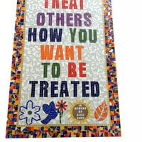 Large Mixed Media Mosaic, Wall Art, Golden Rule