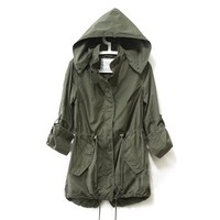 Imixcity Women's Zip Hoodie Drawstring Trench Jacket