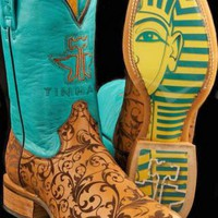 Women's BootsTin Haul Blue Damask - King Tut Sole Damask