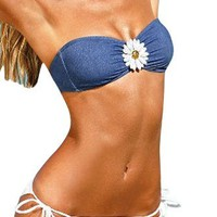 MLS Women's Swimwear Flower Halter Bandeau Wireless Padded Push Up Denim Bikini Sets