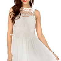 Lace Applique Chiffon Skirt Tank Dress