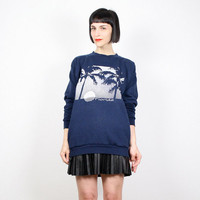 Vintage 80s Sweatshirt Navy Blue Sweater Novelty Print Sweatshirt Screen Print T Shirt FL Florida Palm Trees Print Worn Jumper L Large