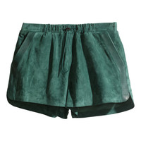 H&M - Suede Shorts - Green - Ladies