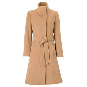 Buy Jigsaw Funnel Neck Belt Coat, Camel online at John Lewis