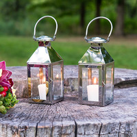 Stainless Lantern with Glass Panels - Piece of Cake Wedding Decor