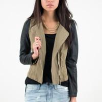 Khaki Cropped Racing Jacket w/Black Vegan Leather Sleeves #outwear #jacket #racing #leather #vegan #khaki #edgy #streetstyle #urban