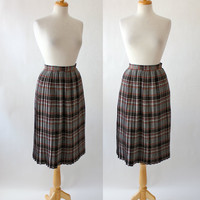 Vintage Knife Pleated Wool Plaid Skirt