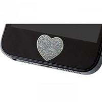 iDecoz Reusable Silver Glitter Heart Home Button Sticker. Fits all versions of the iPhone, iPad and iPod touch. FREE Shipping!