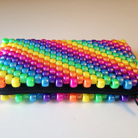 Rainbow Coin Purse, Beaded Coin Purse, Kandi Purse, Pastel Zipper Pouch, Rainbow Wallet