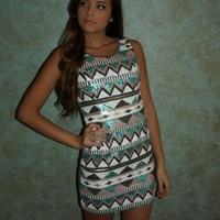 Printed Sequin Mini Dress