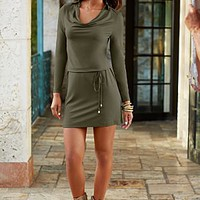 Belted Cowl Neck Dress