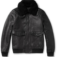 Marc by Marc Jacobs - Lewisham Shearling-Collar Leather Bomber Jacket | MR PORTER