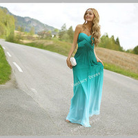 Cheap Custom Made A line Sweetheart Ombre Chiffon Bridesmaids Dresses, Prom Dresses, Long Prom Dresses, Evening Dresses, Blue Dresses