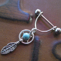 Turquoise Dream Catcher Feather Charm Dangle Swing Nipple Bar Barbell Piercing Shield Jewelry 14g 14 G Gauge Stirrup