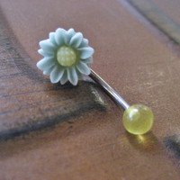 Mint Sage Green Yellow Daisy Belly Button Ring Jewelry- Flower Navel Piercing Stud Bar Barbell