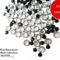 Mix Bulk Lot SALE 500 PCS Silver Crystal Rim Hot Fix Iron On Rhinestones & Black Cabochons Free Shipping