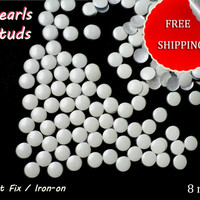 DIY Studs - 60 PCS Mother of Pearl Metal Tone Round Studs 8 mm - Iron On, Hot Fix, or Glue On Crafts