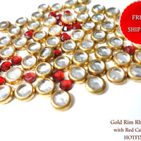 Mix Bulk Lot SALE 500 PCS Gold Crystal Rim Hot Fix Iron On Rhinestones & Red Cabochons Free Shipping