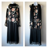 90s Floral Drop Waist Shift Dress -- Black and Pink Roses -- Gatsby Jazz Age Vamp Flapper 20s Inspired Dress w/ Scarf