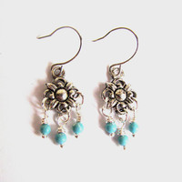 Turquoise Chandelier Earrings Small Silver - Turquoise Jewelry