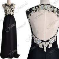 Black Prom Dresses, Black Formal Dresses, Straps Lace/ Crystal Long Chiffon Prom Dresses with Open Back, Evening Gown, Wedding Party Dresses