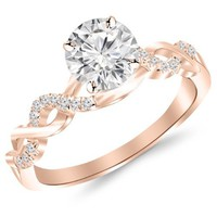 0.5 Carat Twisting Infinity Gold and Diamond Split Shank Pave Set Diamond Engagement Ring with a 0.37 Carat J-K I2 Center
