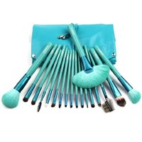 18 Pcs Makeup Comestic Brush Set Tools with One Blue Pounch