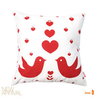Red Print on White Love Birds Pillow 13 Inches Square