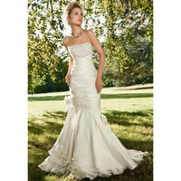 Mermaid Gorgeous Strapless Beadings& Applique Taffeta Wedding Dress