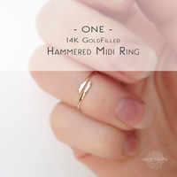 One Single Skinny Gold Midi Ring - 14k Goldfill Hammered Knuckle Ring - Minimalist Gold Fingertip Ring